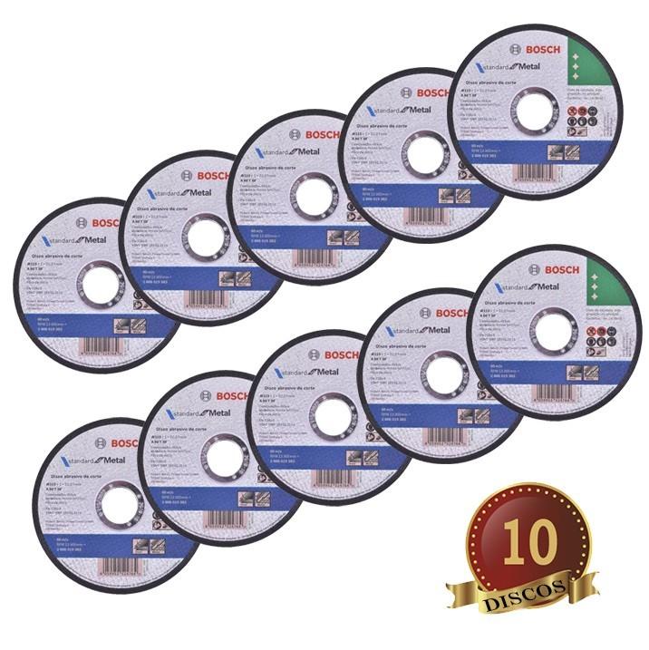 Disco Corte Metal Inóx Bosch Kit com 10 Discos