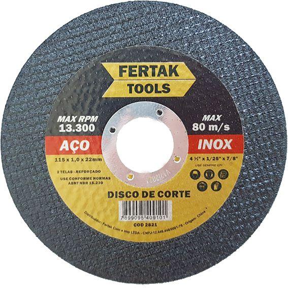Disco de Corte Metal 115mm - 10 Discos
