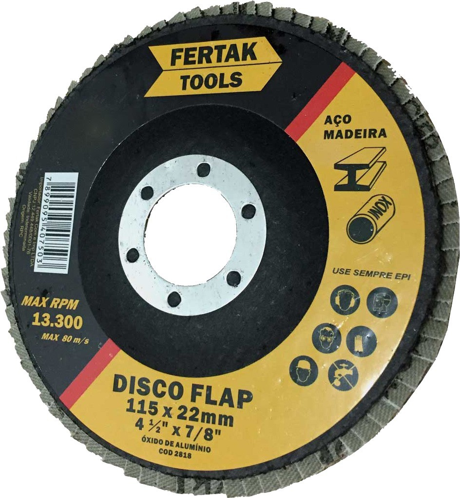 Disco de Lixa Flap Grão 115gr Cônico 115mm