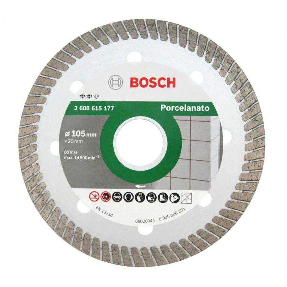 Disco Diamantado Turbo Porcelanato Ultra Fino 105mm Bosch