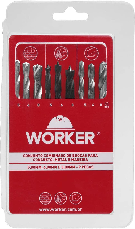 JOGO DE BROCA COMBINADO 9PÇS - WORKER