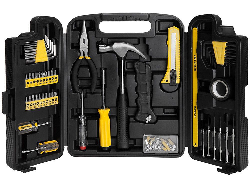 Kit Jogo de ferramentas com 142 peças maleta plástica