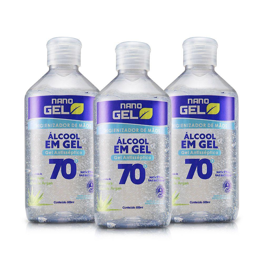 Álcool em Gel 70 - Nano Gel Naturale - 500ml - 3 unidades