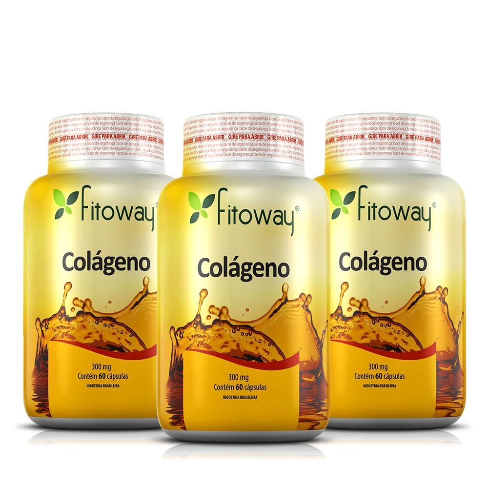 Colágeno Hidrolisado Fitoway 300mg - 3 Potes de 60 cápsulas cada