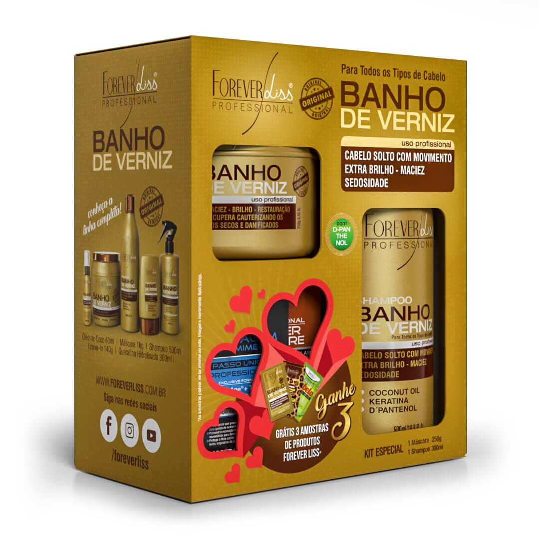 Kit Especial Banho de Verniz Forever Liss com Shampoo 300ml e Máscara 250g