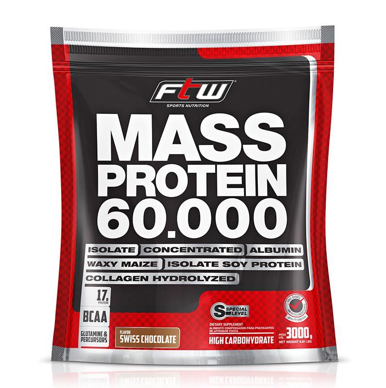 Mass Protein FTW - Refil 3 Kg - Sabor Baunilha - Fitoway