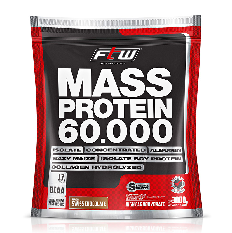 Mass Protein FTW - Refil 3 Kg - Sabor Chocolate - Fitoway