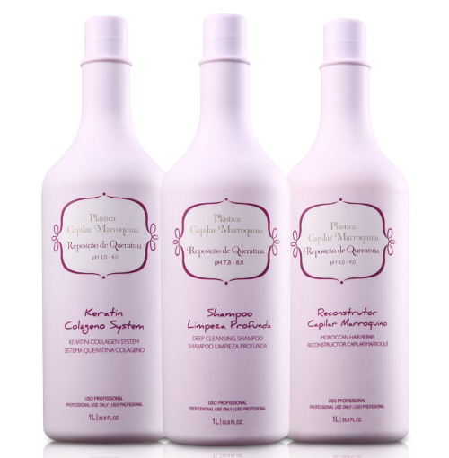 Plástica Capilar Marroquina - Kit 3 passos 1000 ml - G-Hair - INOAR