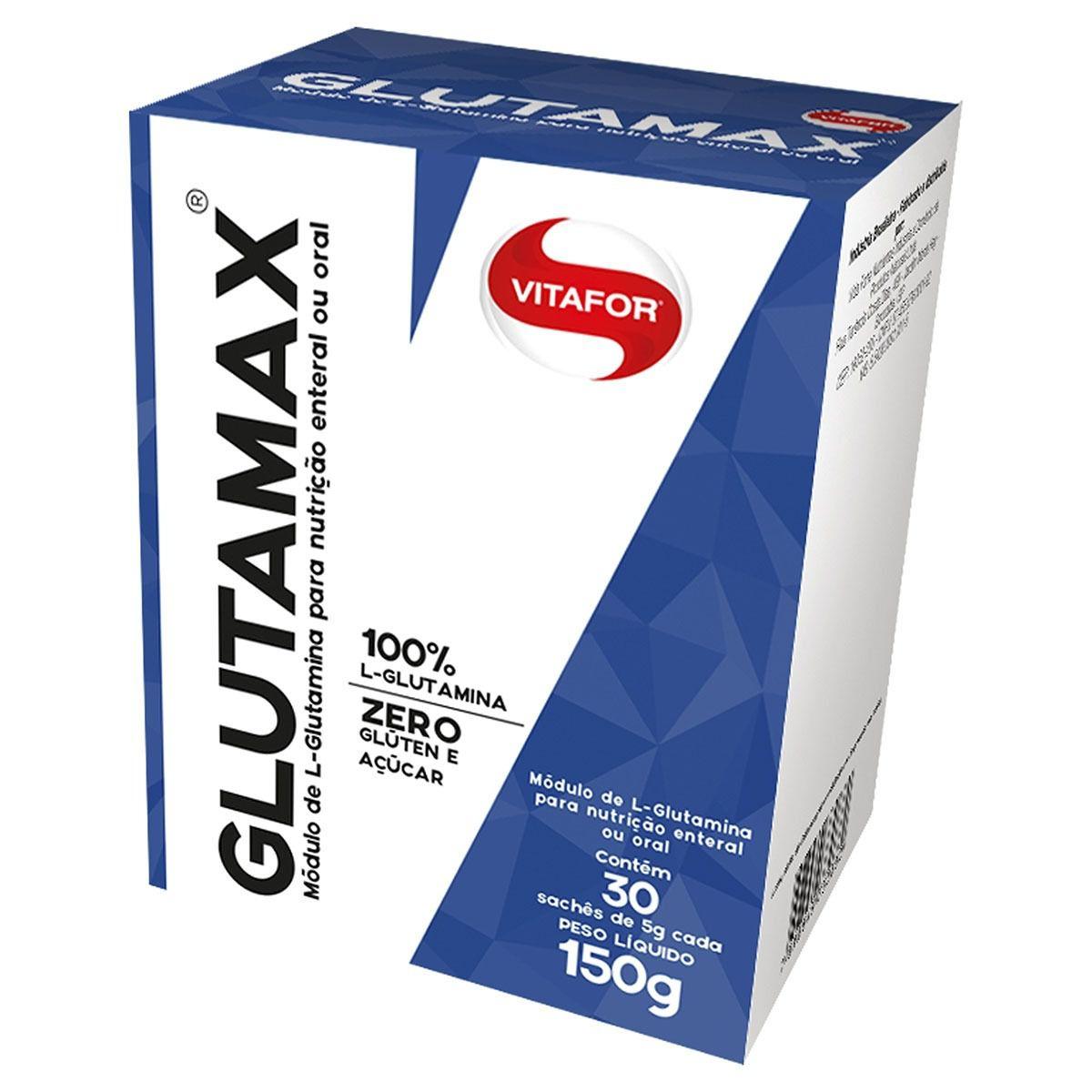 Caixa Glutamax 150g 100% L-glutamina 30 Sachês - Vitafor