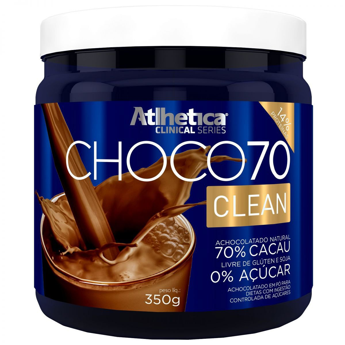 Choco70 Clean 350g Achocolatado Natural - Atlhetica Nutrition