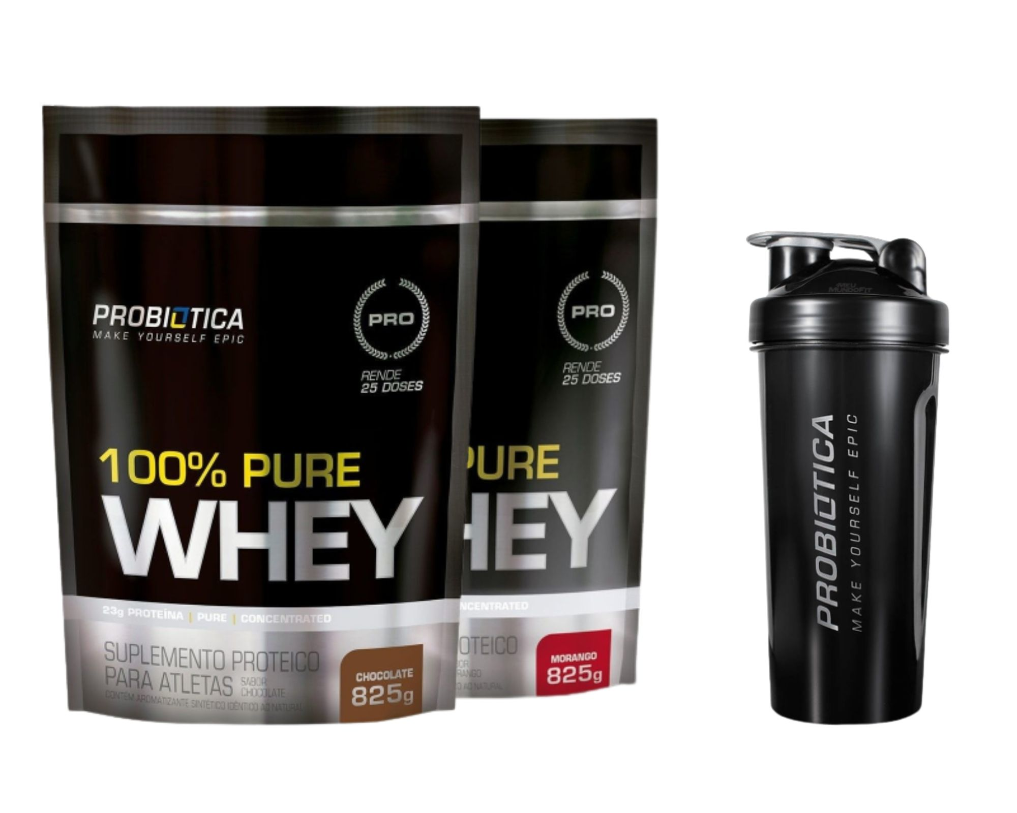 Combo Whey Chocolate 825gr + Whey Morango 825gr + Coqueteleira (Brinde) - Probiótica