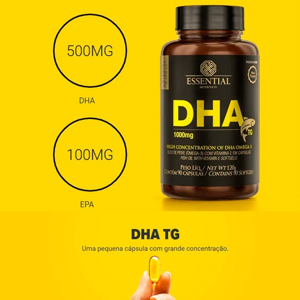 Kit 3x DHA TG 1000mg 90 Cápsulas - Essential Nutrition