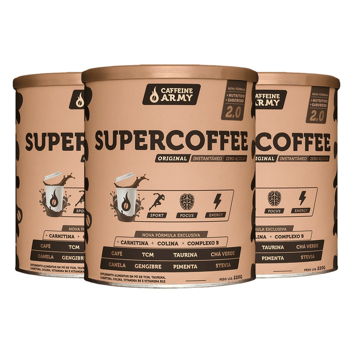 Kit 3x Supecoffee 2.0 220g - Caffeine Army