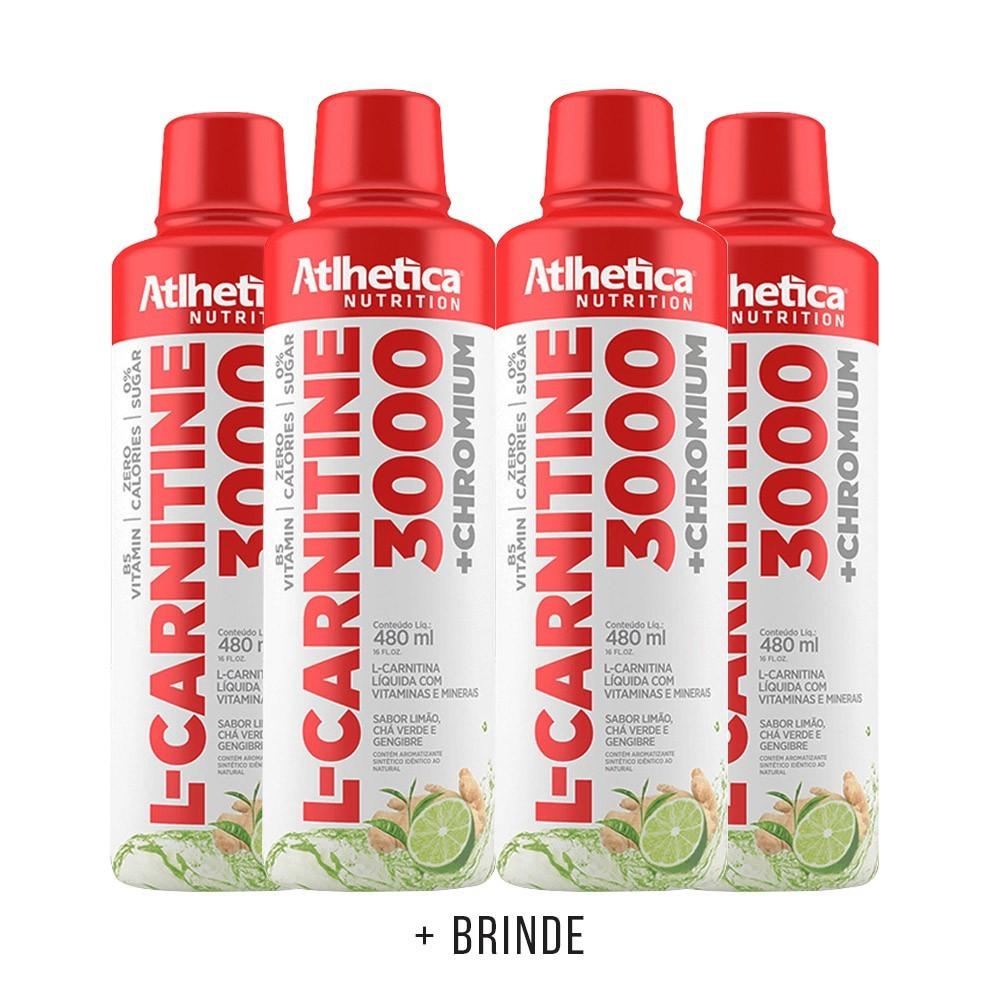 Kit 4un L-Carnitine 3000 480ml Limão, cha verde e gengibre - Atlhetica Nutrition