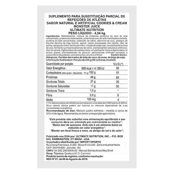 Monster Juice 10lbs Hipercalórico - Ultimate Nutrition