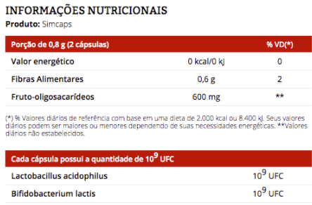 Simcaps 30 Cápsulas Equilíbrio Intestinal - Vitafor