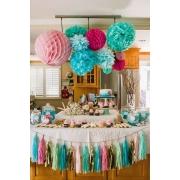 Balão bola pompom e bolas de papel kit festa