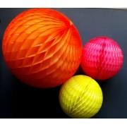 Balão GLOBO Bola de Papel de seda Cor Laranja Fluorescente (brilha na luz negra) GiroToy Enfeites