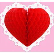 Enfeite de Papel Coração Abre frente e Verso - decoração dia das Mães dia dos namorados GiroToy Enfeites