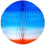 Balão GLOBO Bola de Papel de seda Cor Tons de Azul c/ Laranja GiroToy Enfeites