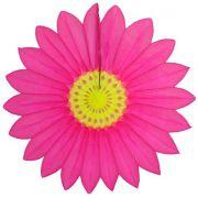 Enfeite de Papel de Seda Margarida Primavera - Fiorata - Pink c/ Amarelo Decoração festa Primavera flores GiroToy