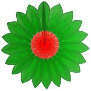 Enfeite de Papel de Seda Margarida Primavera - Fiorata - Verde c/ Vermelho Decoração festa Primavera flores GiroToy