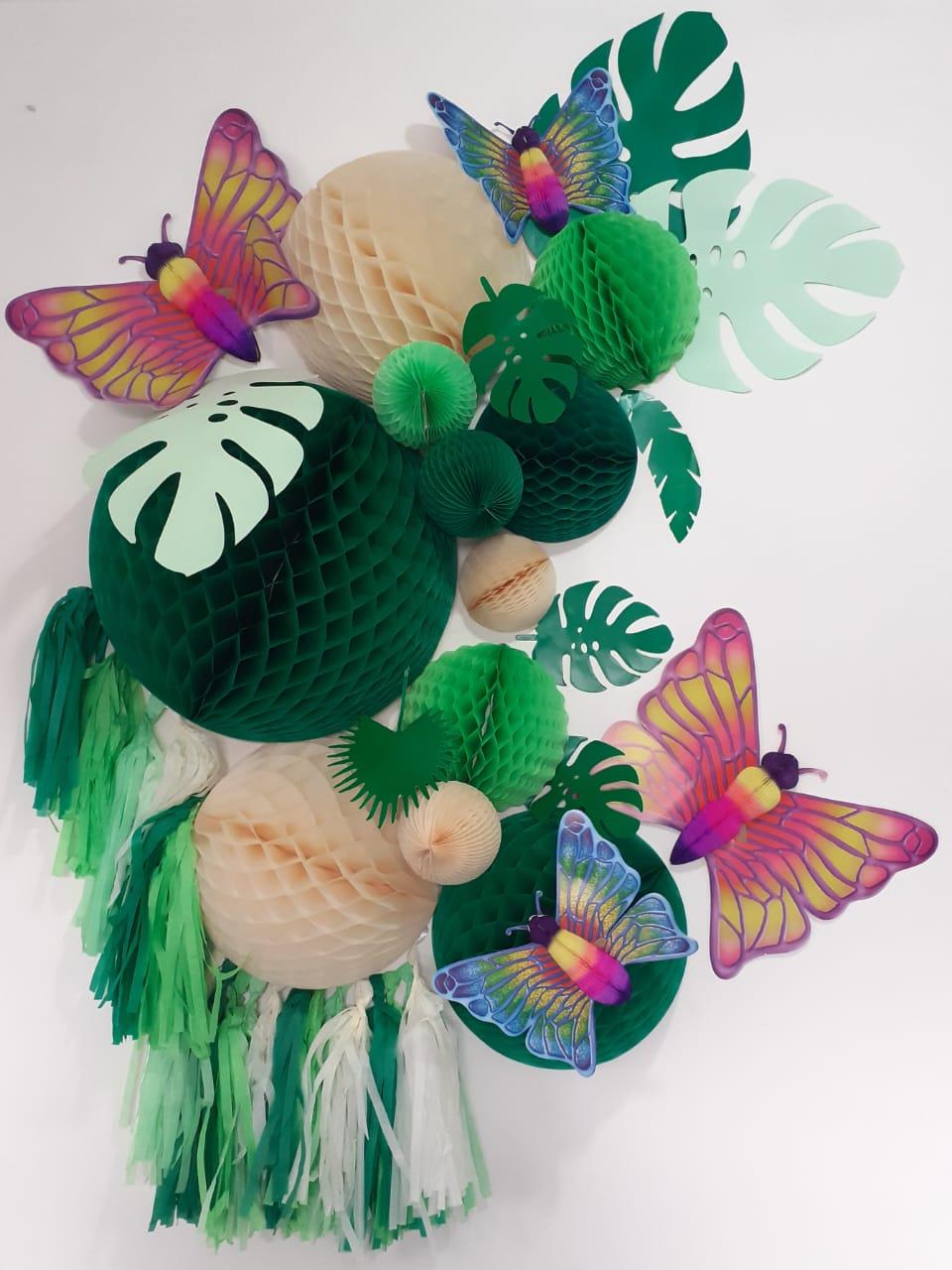 Balão festa decorativa decoração bolas de papel painel borboletas tema jardim infantil