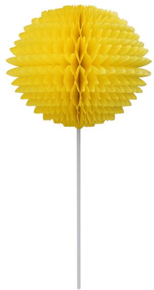 BOLA POM POM 130mm com HASTE Amarelo Claro - Pompom de papel seda colmeia GiroToy Enfeites fazemos cores personalizadas