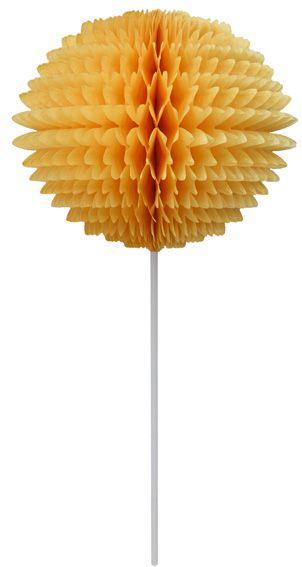 BOLA POM POM 130mm com HASTE Amarelo Ouro Pompom de papel seda colmeia GiroToy Enfeites fazemos cores personalizadas