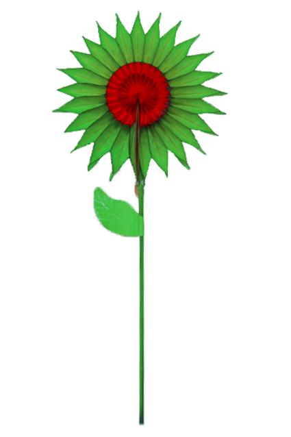 GIRASSOL Decoração 15cm Verde c/ Vermelho centro de mesa