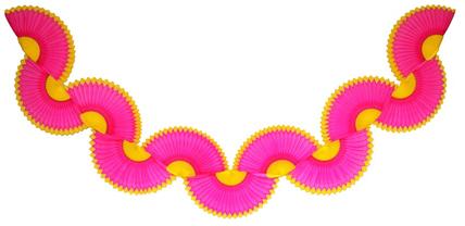 Guirlanda Pink c/ Amarelo Guirlanda de papel seda Batizado festa na igreja decorações de papel GiroToy