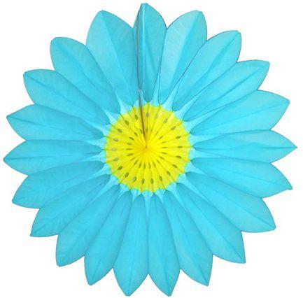 Enfeite de Papel Seda Margarida Primavera - Fiorata - Turquesa c/ Amarelo Decoração festa Primavera flores GiroToy