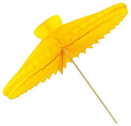 Enfeite de Papel Seda Sombrinha 42cm Amarela Sombrinha - guarda Chuva de frevo Carnaval para decorar dançar salvador bahia olinda pernambuco GiroToy Enfeites