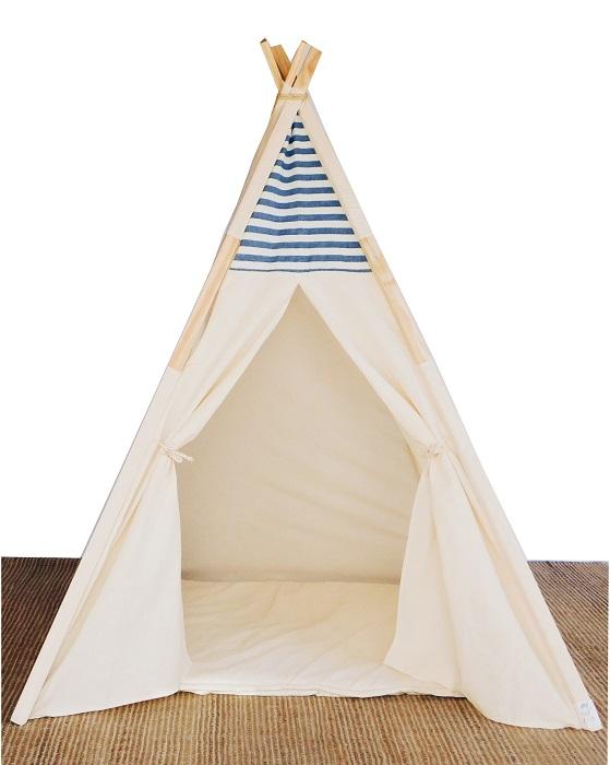 Cabana de índio desmontavel detalhe jeans (listrado branco e azul marinho) e janela lateral