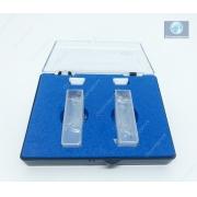 Cubeta de vidro, 2 faces polidas, caminho ótico 10 mm, 3,5 mL, com tampa em Teflon (PTFE), caixa com 2 unidades