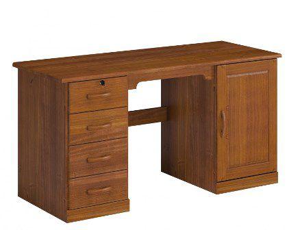 Escrivaninha 4 Gavetas 1 Porta Office Cairo de Madeira Maciça Pinus