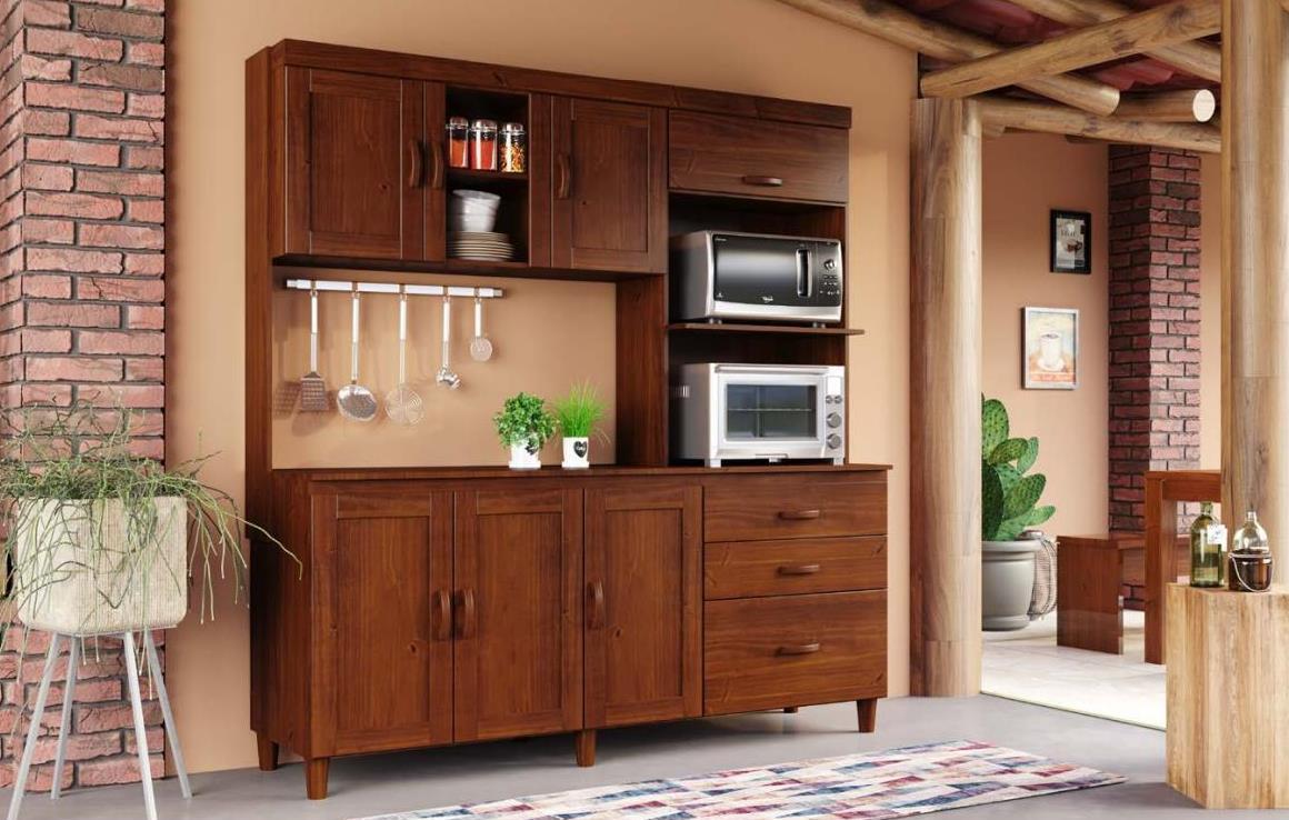 Kit Cozinha Ecco de Madeira Maciça Pinus