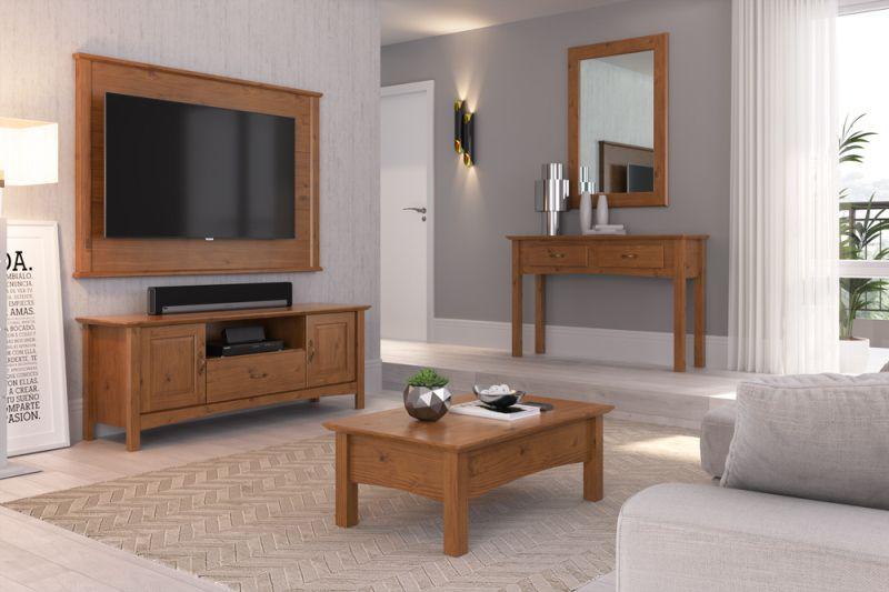 Painel de Tv 1,60 cm Bella de Madeira Maciça Pinus