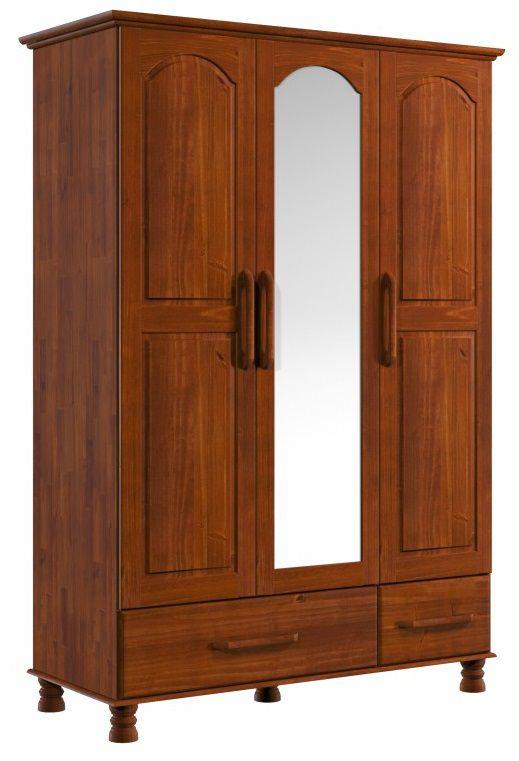 Roupeiro Baixo 3 Portas 2 Gavetas Ouro de Madeira Maciça Pinus