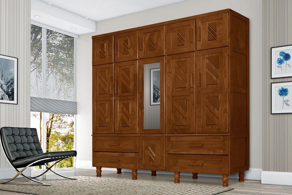 Roupeiro Chicago 5 Portas de  Madeira Maciça Pinus
