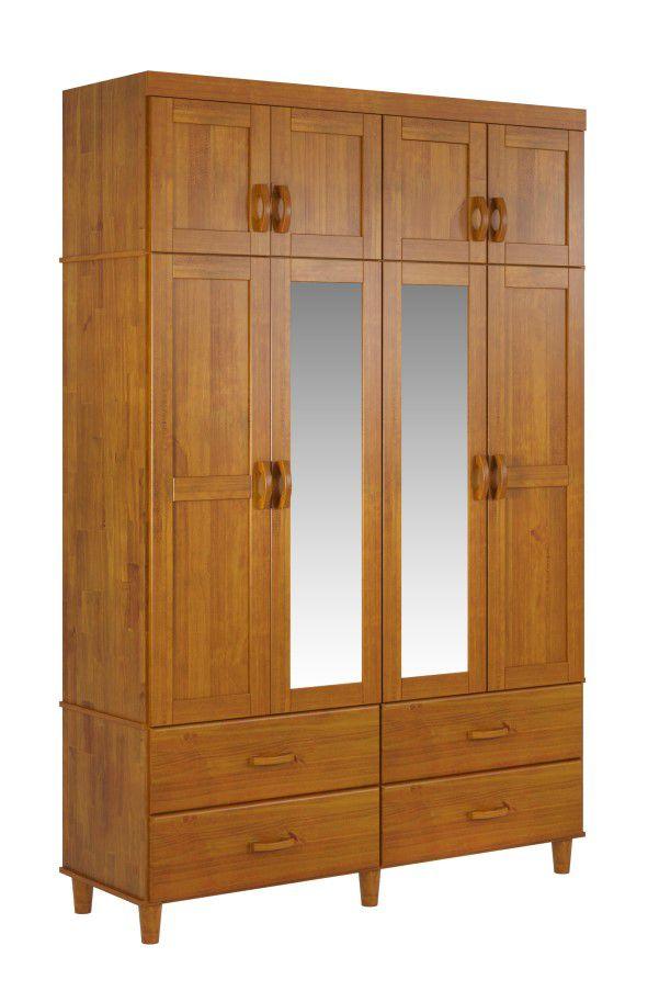 Roupeiro Tripartido Ecco 8 Portas de Madeira Maciça Pinus