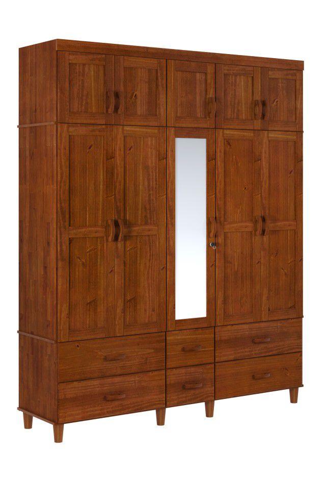 Roupeiro Tripartido Ecco 10 Portas de Madeira Maciça Pinus