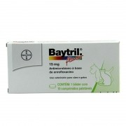 Baytril Flavour 15mg Cães Com 10 Comprimidos