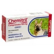 Chemitril 150 Mg Antibiótico Para Cães 10 Comprimidos