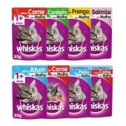Kit 10 - Sachê Whiskas P/ Gatos Adultos Carne Ou Frango 85g