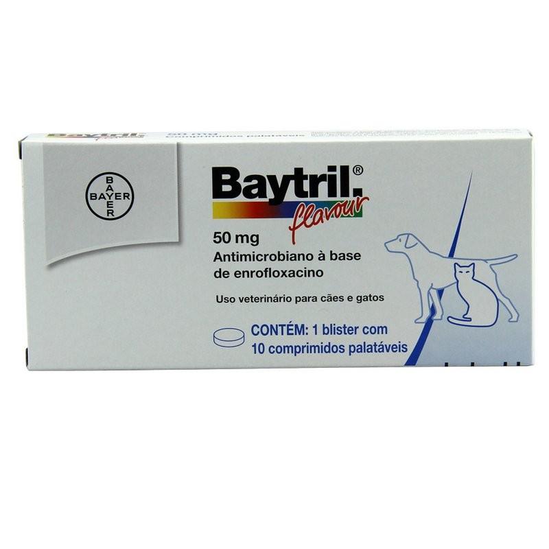 Baytril Flavour 50mg - Para Cães Com 10 Comprimidos