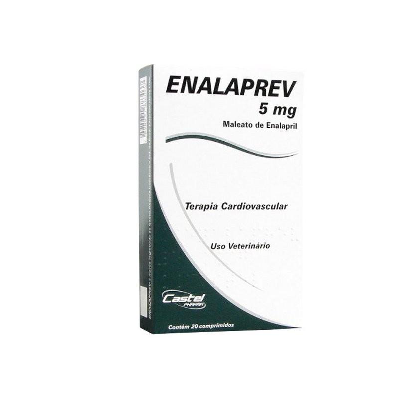 Enalaprev Cardiovascular Enalapril 5mg Cães - 20 Comp