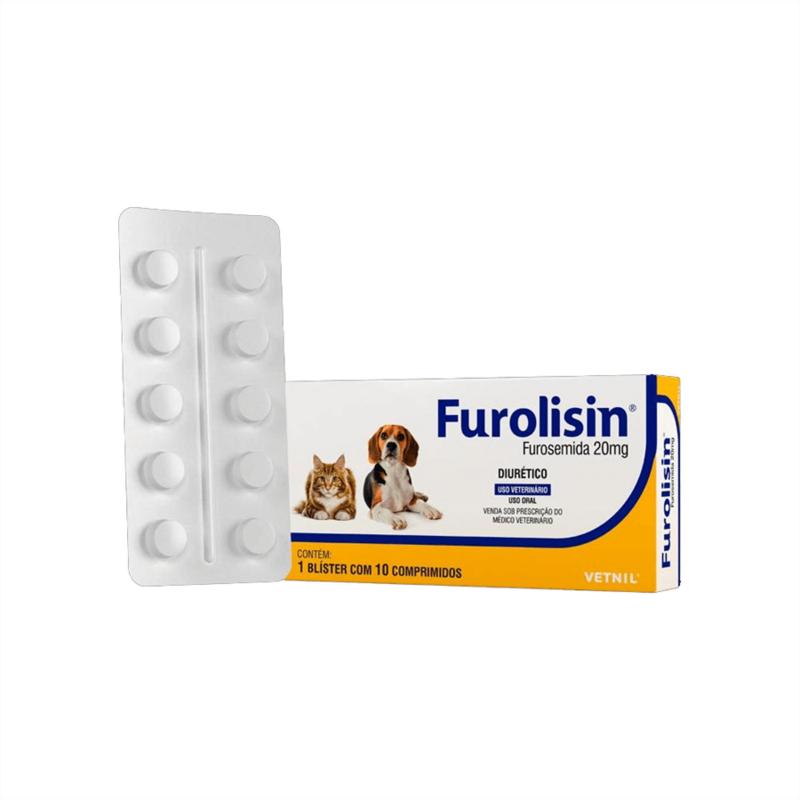 Furolisin Furosemida 20mg Vetnil Cão Gato - 10 Comp