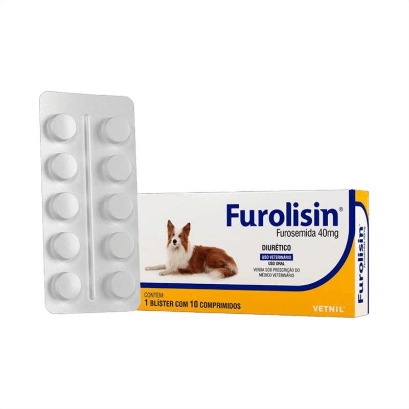 Furolisin Furosemida 40mg  Vetnil Cão - 10 Comp