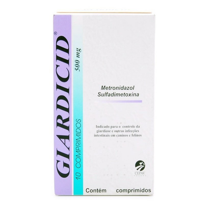 Giardicid 500mg 10 Comp. Remedio De Verme Cão E Gato